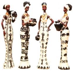Statues 4 Femmes Africaines Porteuses d'eau (14cm)