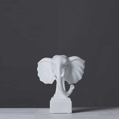 Statue Tête d'Éléphant Blanche