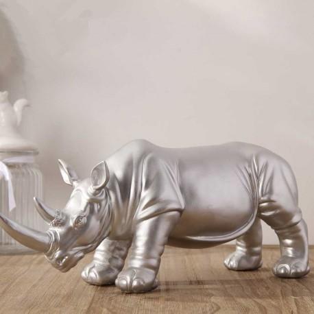 Statue Rhinocéros Argenté