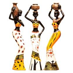 Statues Femmes Africaines Porteuses d'eau (lot de 3) 25cm