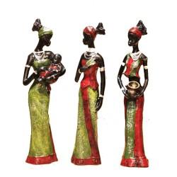 Statues 3 Femmes Africaines et un bébé (lot de 3) 20cm