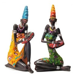 Statues 2 Mamans Africaines 28cm